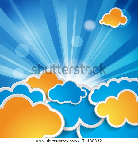 sun with rays and clouds on a blue background
