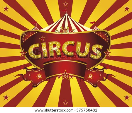 Sunbeams circus card. A circus  greeting card with sunbeams for your entertainment - stock vector