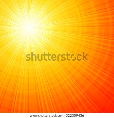 Sunbeams orange abstract vector illustration background EPS 10 - stock vector
