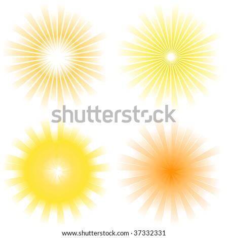 Sunburst abstract vector set. - stock vector