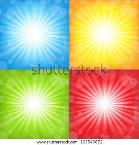 Sunburst And Bokeh Big Set, Vector Illustration - stock vector