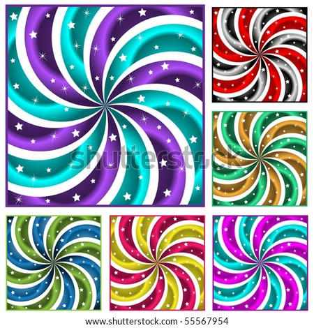Sunburst collection of six different colored abstract swirly sun burst backgrounds and stars. Raster also available. - stock vector