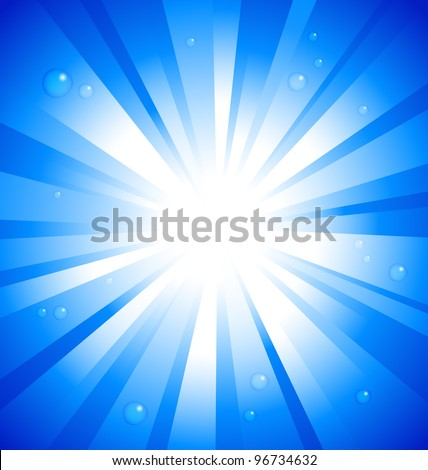 Sunburst on blue background with water drops - stock vector