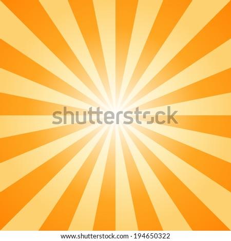sunburst, orange light ray, vector and illustration background. - stock vector