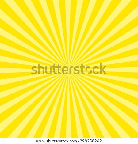 Sunburst pattern, sunrise background, yellow retro round lines - vector illustration - stock vector