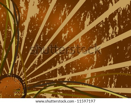 Sunburst with grunge effect (Vector) - stock vector