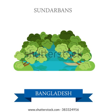 Sundarbans in Bangladesh. Flat cartoon style historic sight showplace attraction web site vector illustration. World countries cities vacation travel sightseeing Asia collection. - stock vector