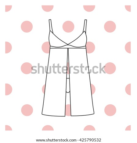 Sundress,  combination or nightie, the silhouette.  nightgown female - stock vector