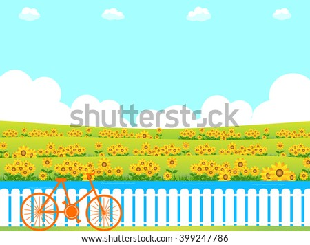 sunflower and bicycle - stock vector
