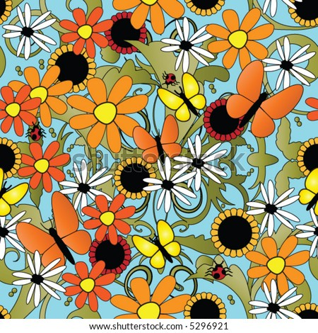 sunflower and butterflies seamless repeating pattern - stock vector