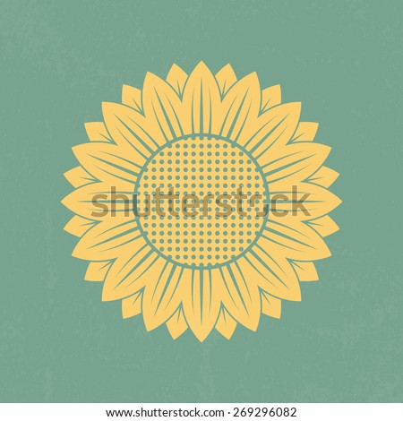 Sunflower icon on retro background - Vector - stock vector