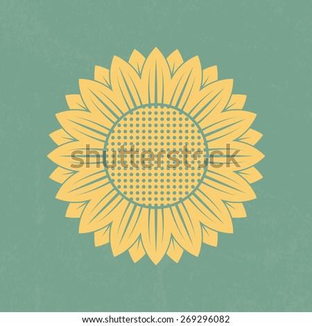 Sunflower icon on retro background - Vector - stock vector