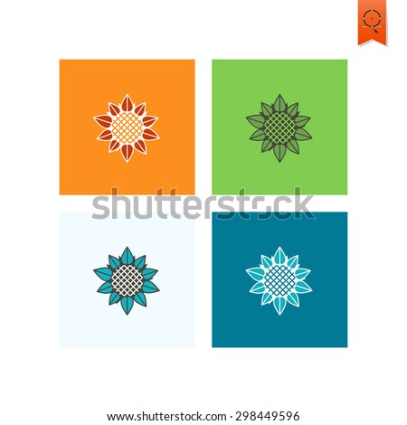 Sunflower. Single Flat Autumn Icon . Simple and Minimalistic Style. Vector - stock vector