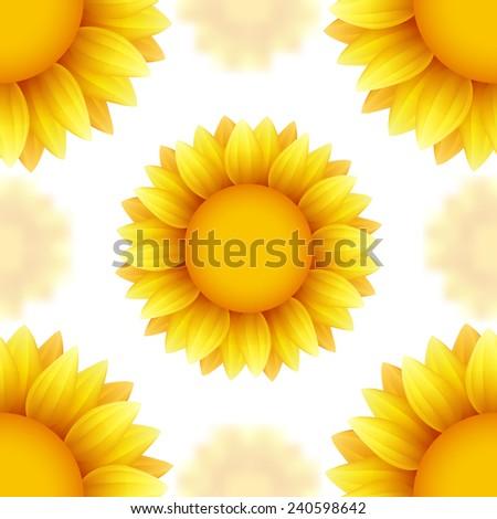 Sunflower vector seamless background - stock vector