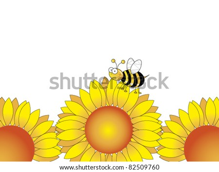 Sunflower vector with a bee on it - stock vector