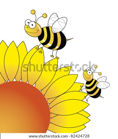 Sunflower with bees playing on it EPS vector illustration
