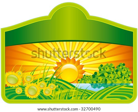 Sunflowers banner - stock vector