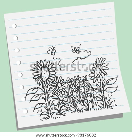 sunflowers in the field  background doodle illustration