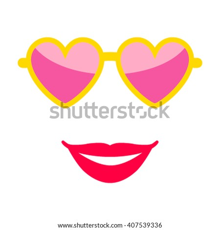 Sunglasses and female lips in a flat mule style. Icon isolation on a white background.Vector illustration - stock vector