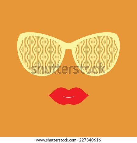 Sunglasses and lips. Vector illustration. Hipster theme. Print for your T-shirts. Great idea for design. Woman's face