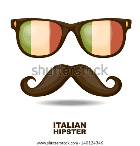 Sunglasses and moustaches. Italian flag. Vector illustration - stock vector