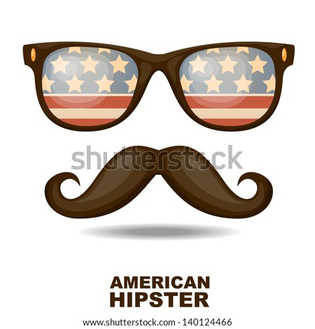 Sunglasses and mustaches. American flag. Vector illustration - stock vector