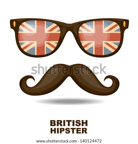 Sunglasses and mustaches. British flag. Vector illustration - stock vector