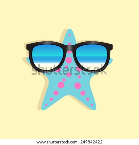sunglasses and starfish - stock vector