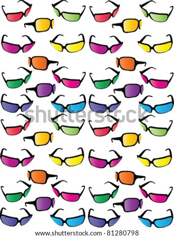 sunglasses color collection - vector - stock vector