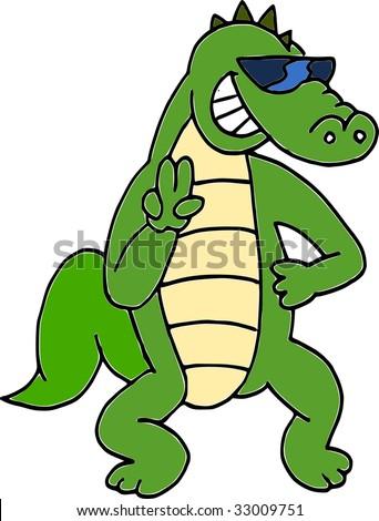 sunglasses crocodile - stock vector
