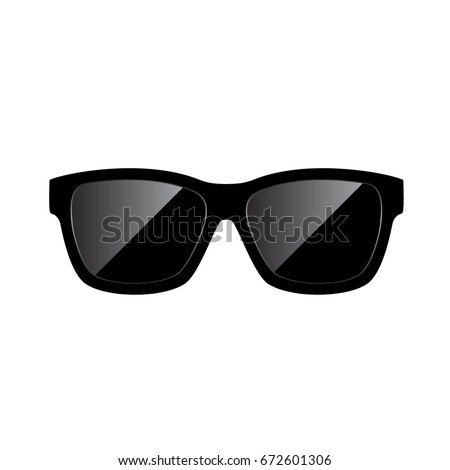 Sunglasses Icon. Vector Illustration. Flat design style. Cartoon Style/ Sunglasses silhouette. Simple icon.
