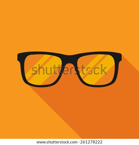 sunglasses icon with long shadow. flat style vector illustration - stock vector