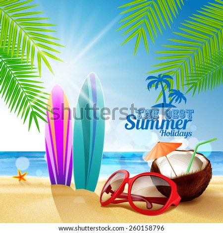 sunglasses on the beach - stock vector