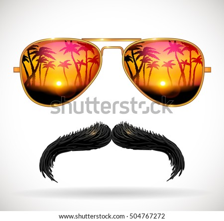 Sunglasses reflecting tropical sunset with palm trees landscape and mustaches - vector illustration.