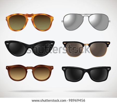 Sunglasses vintage set (cats-eye/oval/wayfarer/clubmaster/aviator/isolated) - vector illustration. Shadow and background are on separate layers. Easy editing. - stock vector