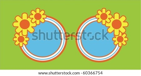 sunglasses with flower - stock vector