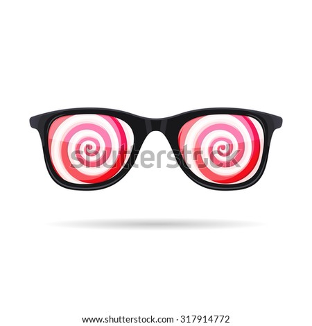 Sunglasses with Hypnotic Spirals onWhite Background. Vector - stock vector
