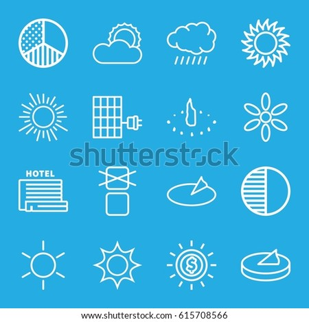 Sunlight icons set. set of 16 sunlight outline icons such as sun, cargo only in box allowed, brightness, solar panel, sundial