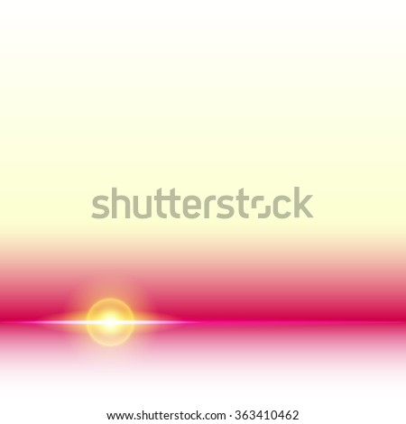 Sunlight shine concept. Light flare, bright lens flare. Abstract glowing background with shining horizon line. Magic glow, light flash effect. Star burst, energy ray. Illustration template art design. - stock vector