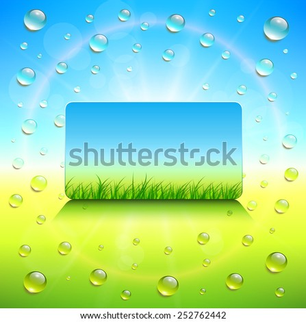 Sunny background, with vector grass and dews water drops. - stock vector