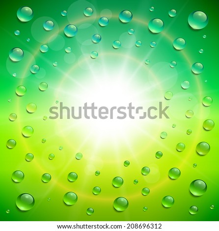 Sunny background, with water drops, vector illustration. - stock vector