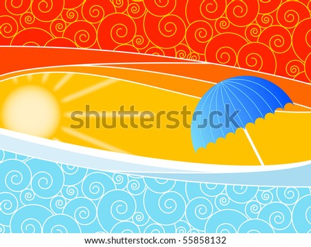 Sunny background with waves and an umbrella - stock vector