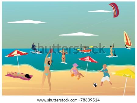 Sunny beach day - stock vector