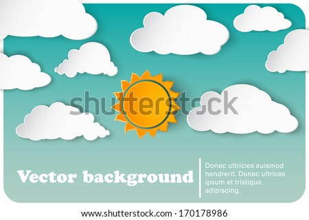 sunny-cloudy background paper - stock vector