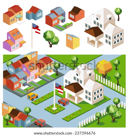 Sunny day neighborhood. isometric vector - stock vector