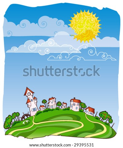 Sunny day poster - stock vector