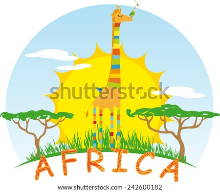 Sunny Giraffe on Background of the African Sun - stock vector