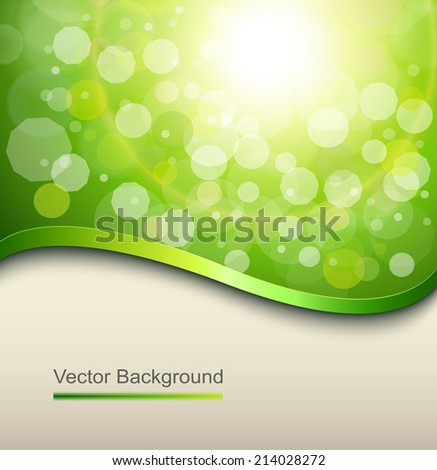 Sunny green background with elegant abstract wave, vector. - stock vector