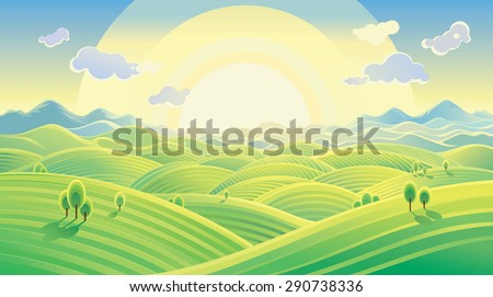 Sunny hilly landscape, sunrise over the hills.