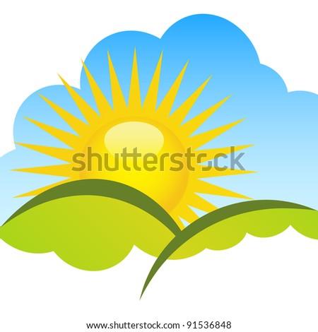 Sunny horizon. - stock vector